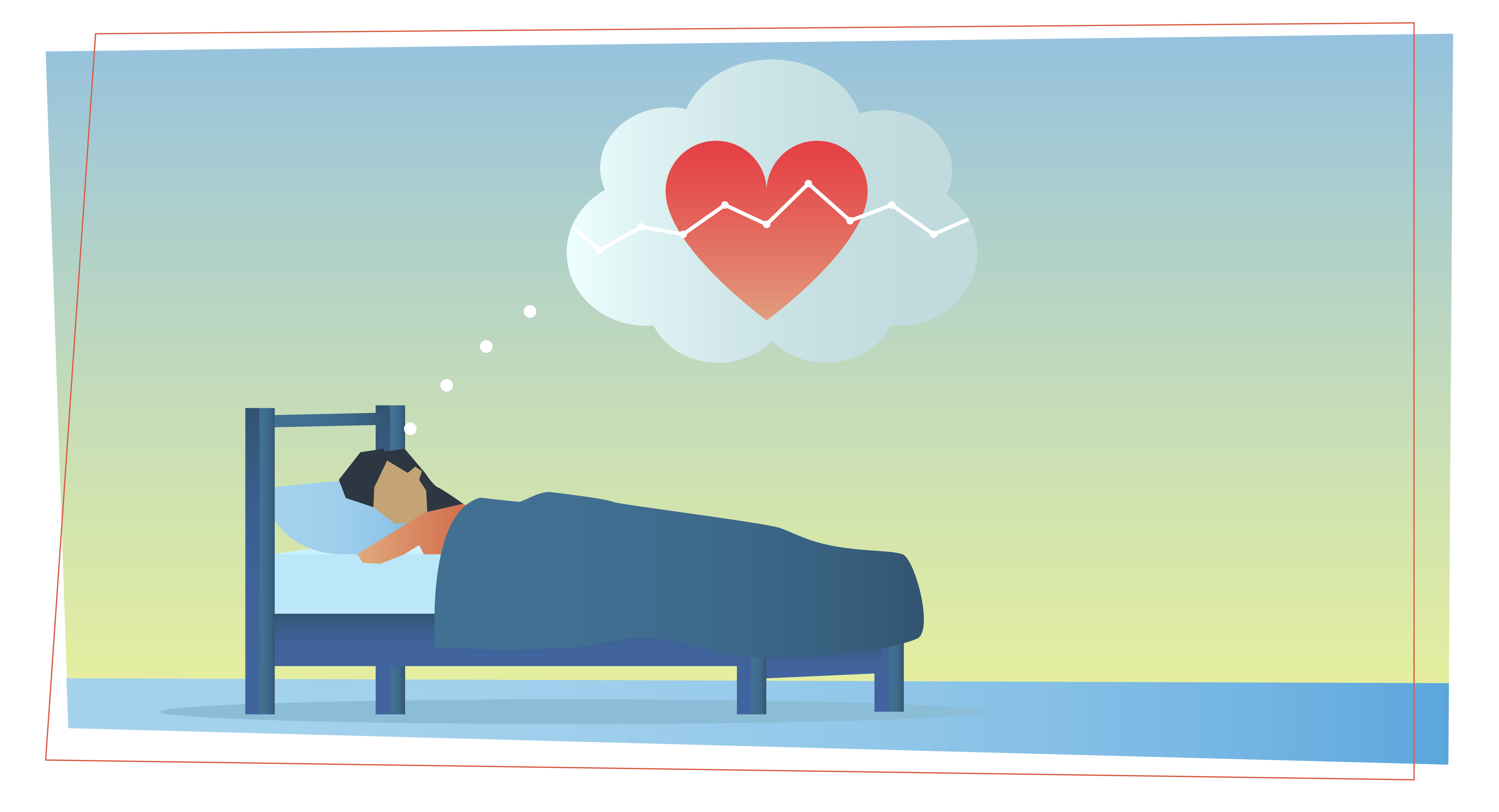 a woman is asleep in a bed and is dreaming of a heart with a cash flow line across it