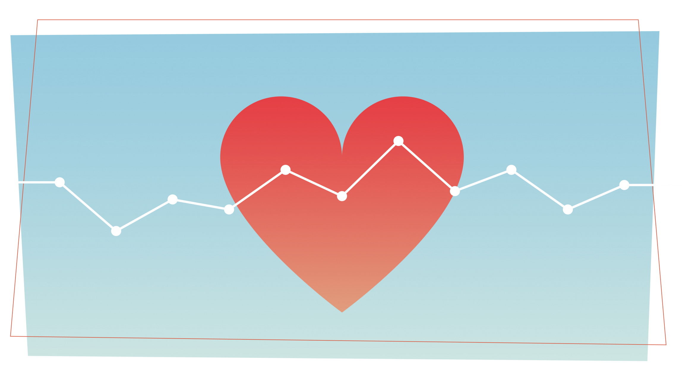 a heart icon with a line plot graph running across it