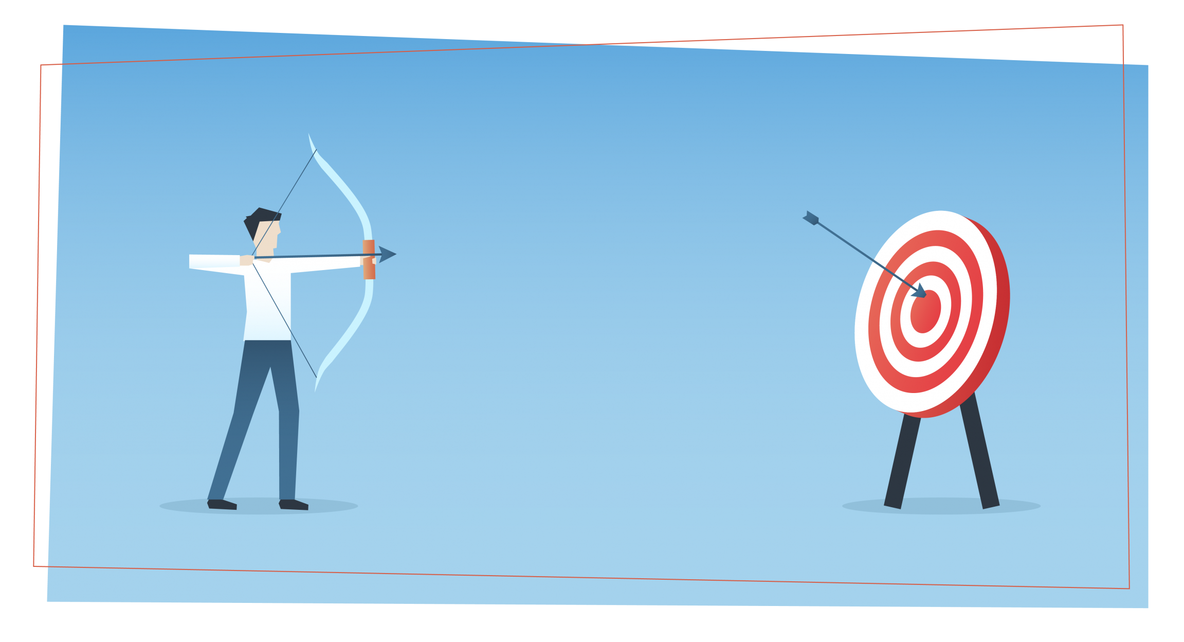 a man shoots arrows from a bow at a large target