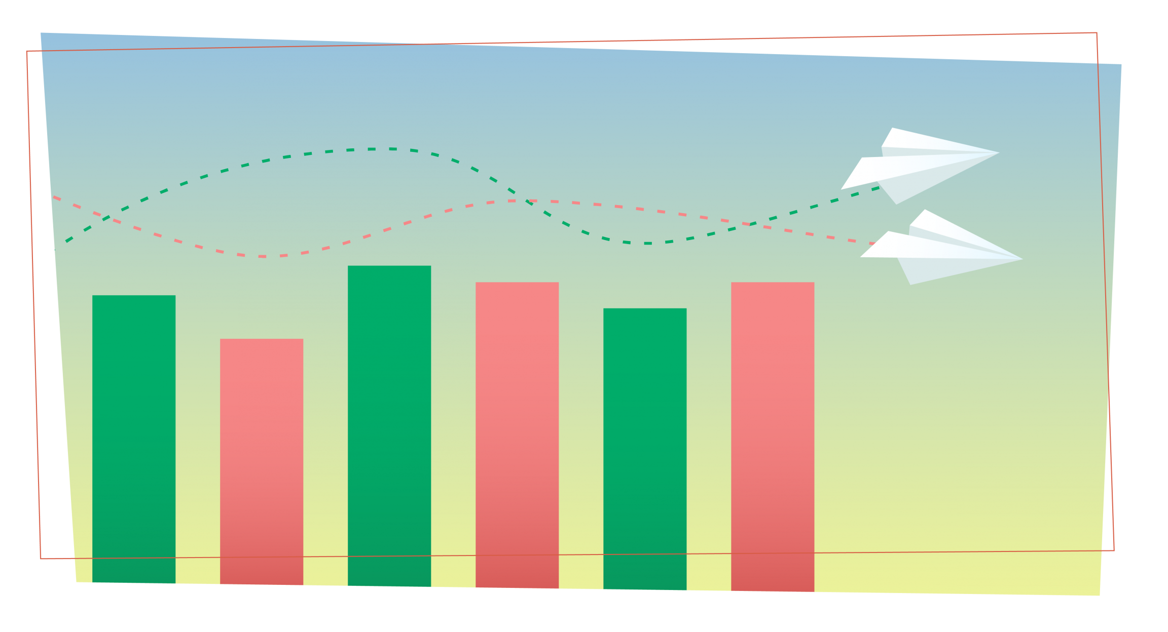 two paper planes have intersecting paths as they fly over a bar chart with red and green bars