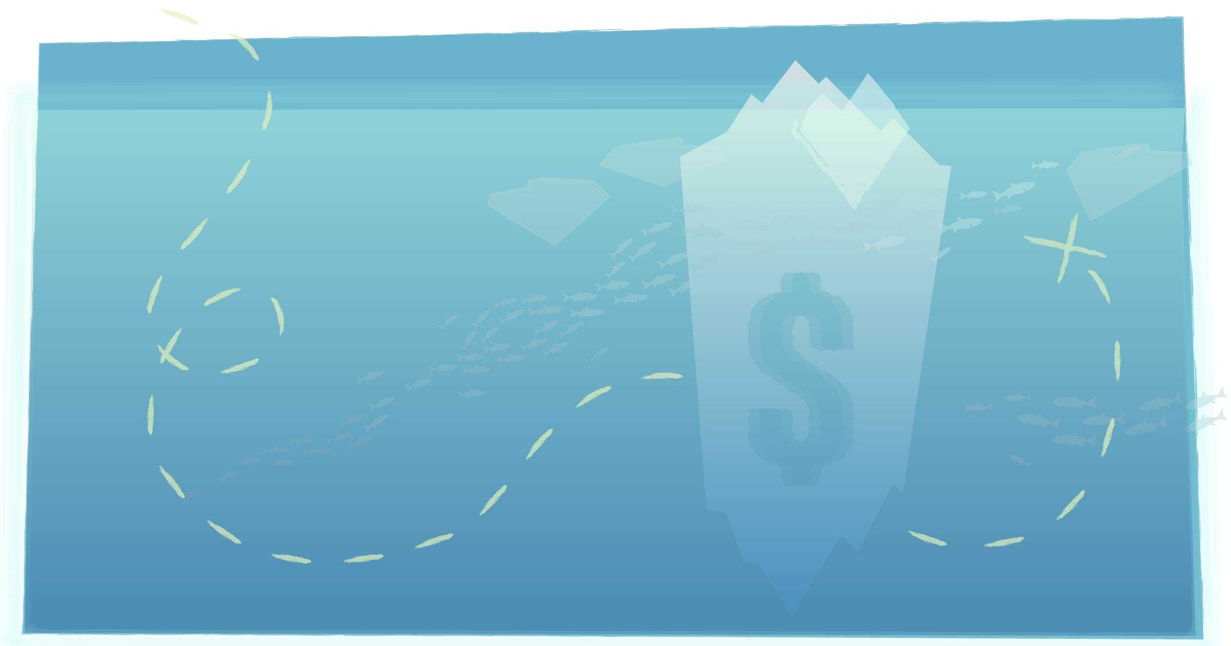 an iceberg with a dollar sign on it as seen underwater